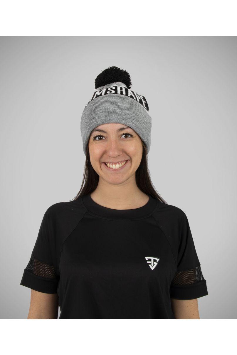 Bonnet pompon gris et noir TeamShape