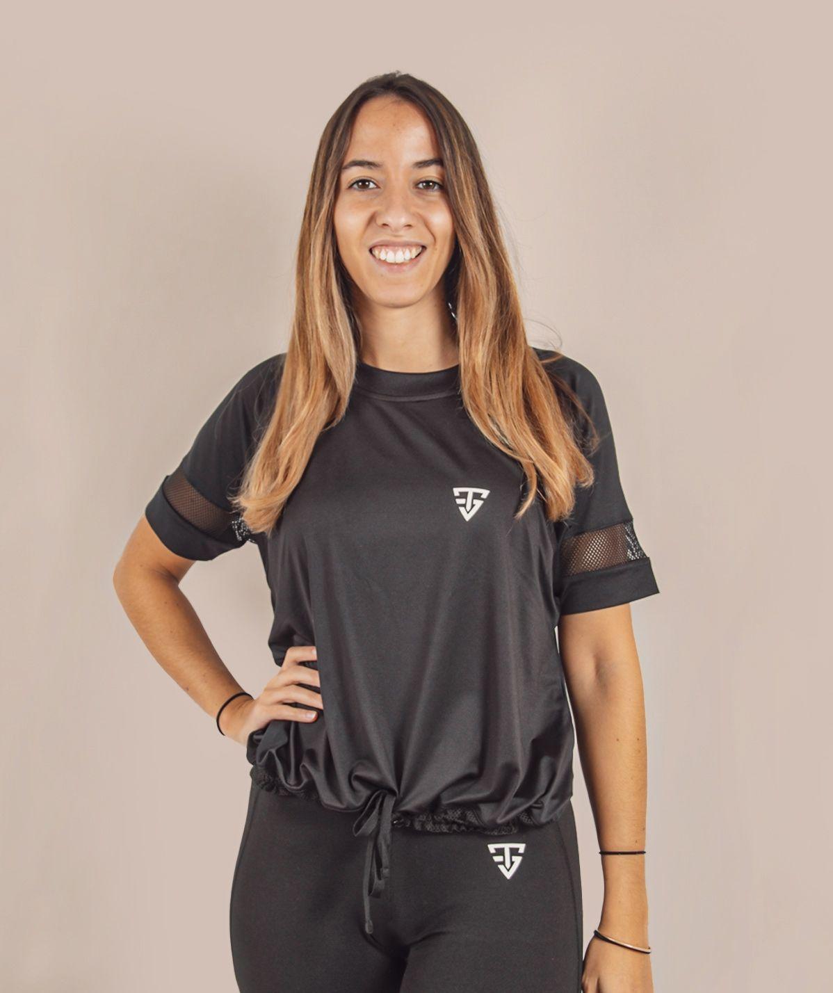 T-Shirt Femme noir Filet