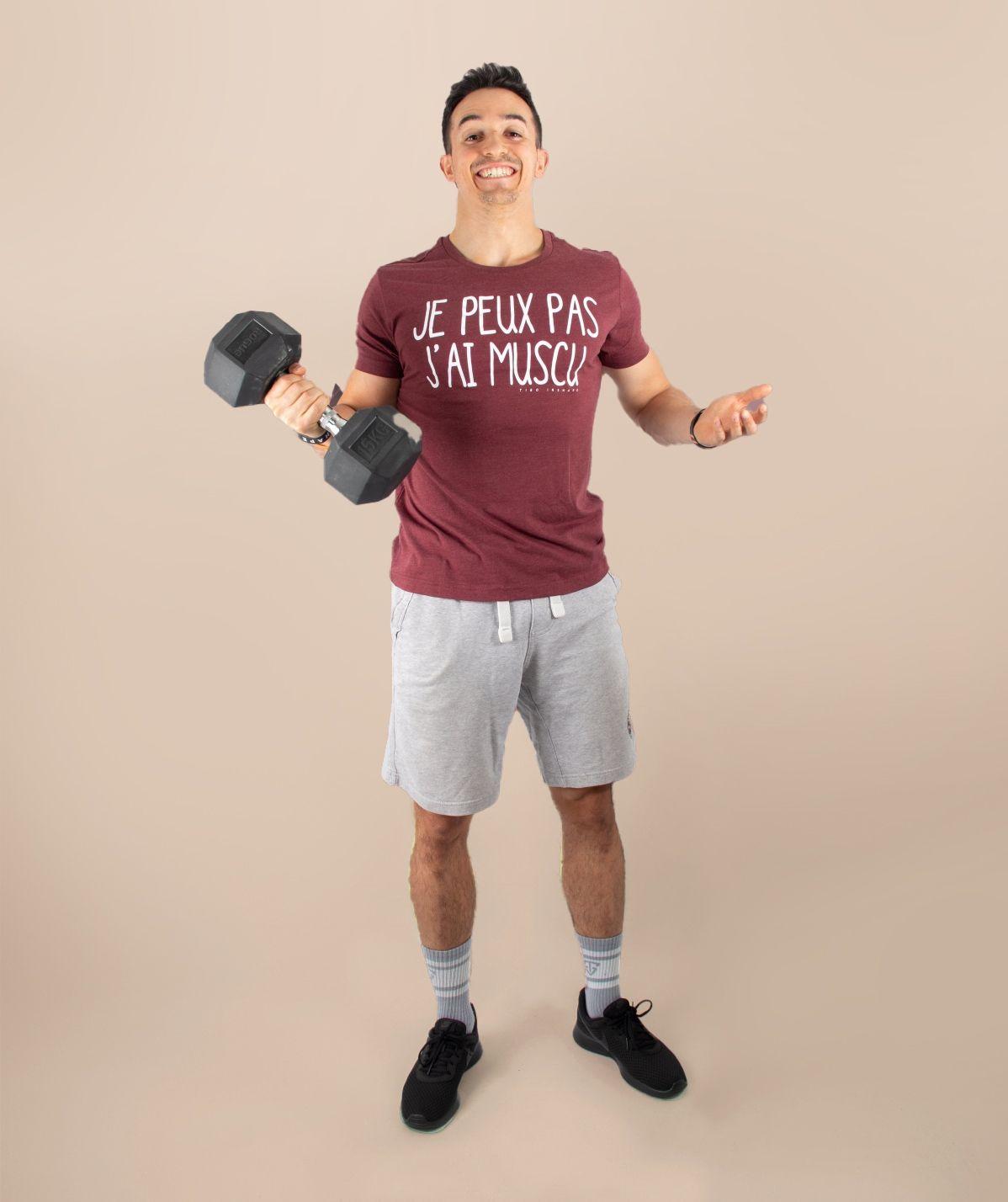 T-Shirt Homme bordeaux je peux pas j'ai muscu