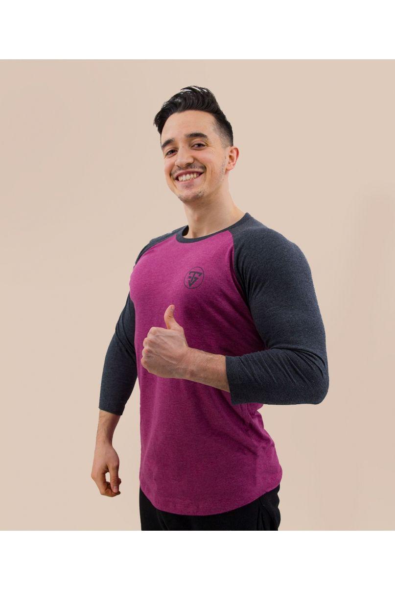 T-Shirt Baseball prune / gris manches 3/4
