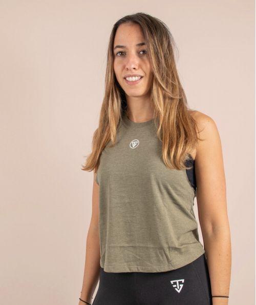 Débardeur Femme Crop Olive