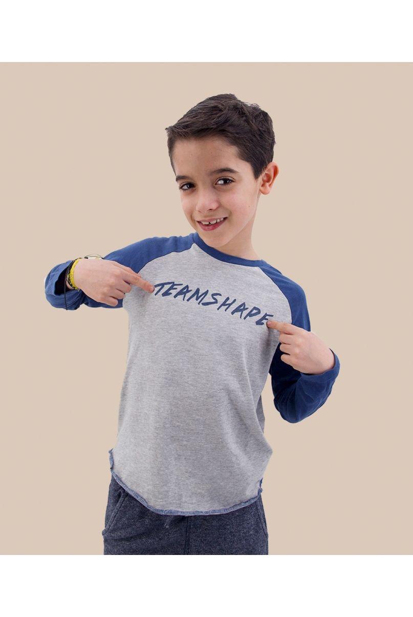T-Shirt enfant baseball gris / marine