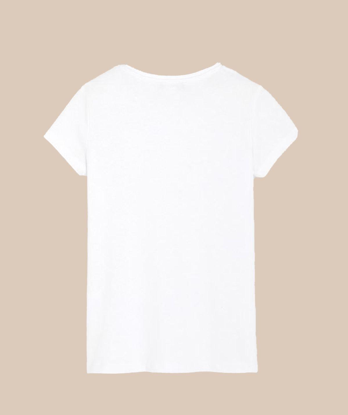 T-shirt Fille Blanc logo rose