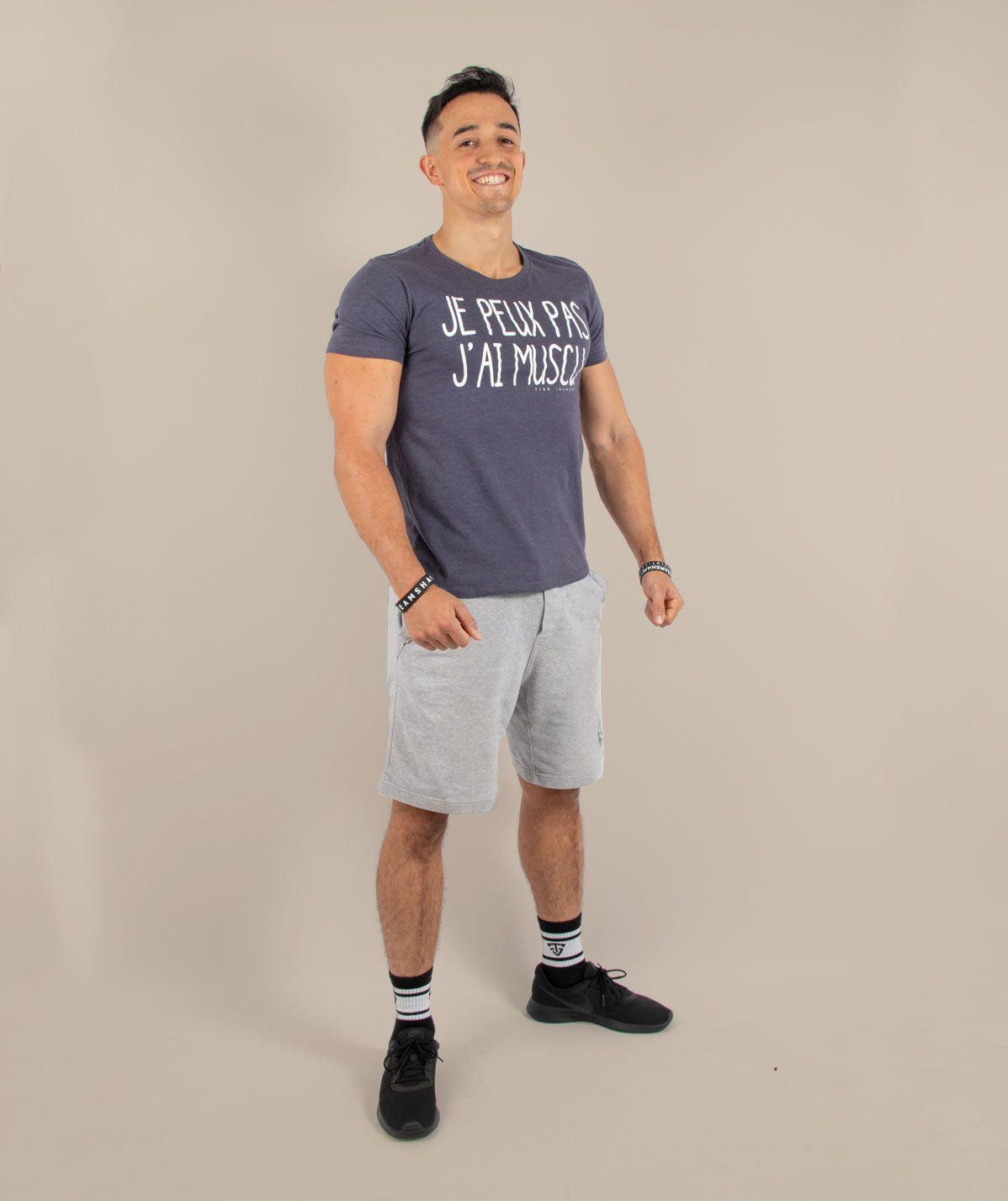 T-Shirt gris je peux pas j'ai muscu