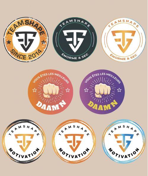 Lot de 8 Stickers TeamShape