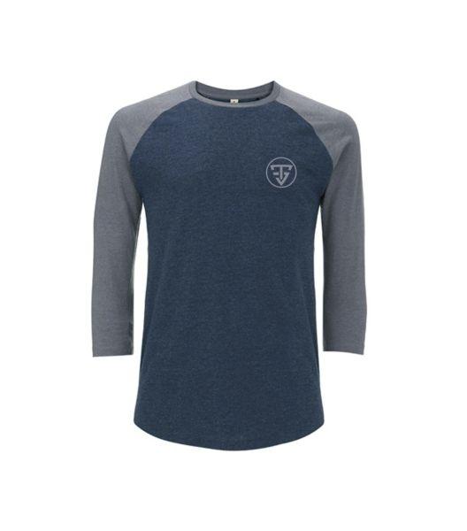 T-Shirt Baseball marine/ gris manches 3/4